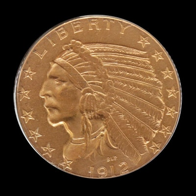 1912 $5 Indian Head Half Eagle Gold Coin