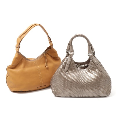 Cole Haan Genevieve Metallic Woven Hobo and Camel Pebbled Leather Hobo Bags