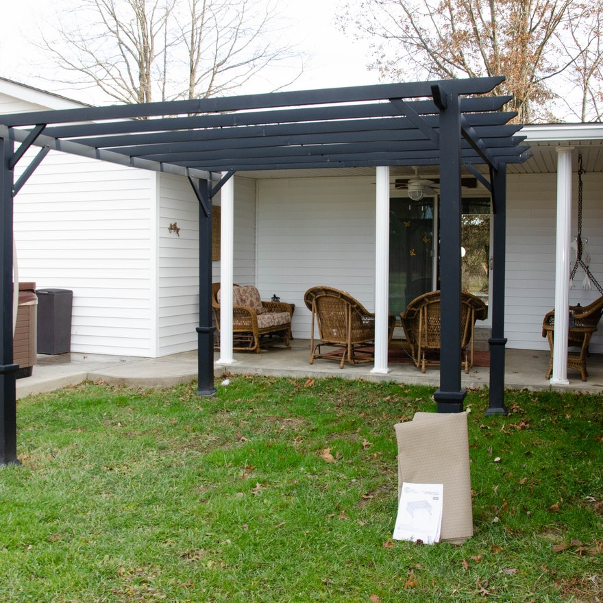 Garden Treasures Aluminum Pergola with Removable Shade Canopy
