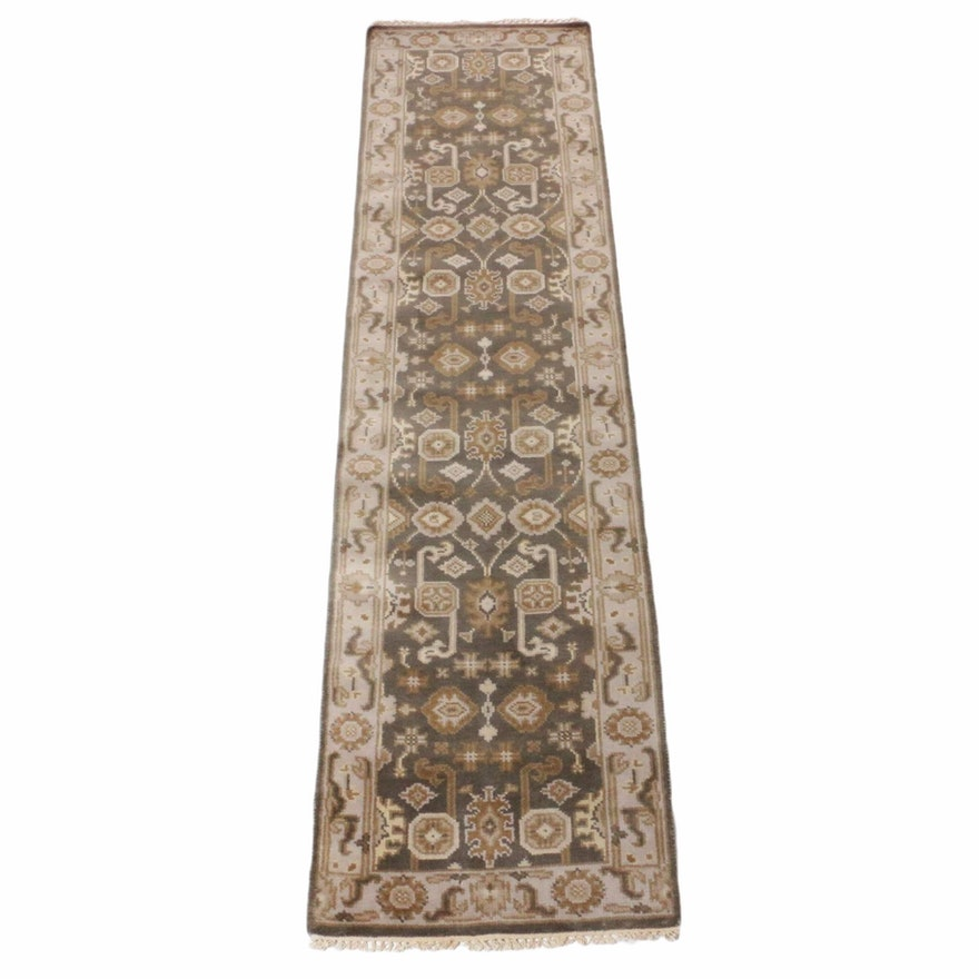 2'6 x 10'0 Hand-Knotted Indo-Turkish Oushak Runner