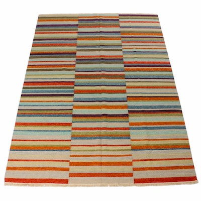 6'5 x 9'2 Hand-Woven Indo-Turkish Kilim Patchwork Rug