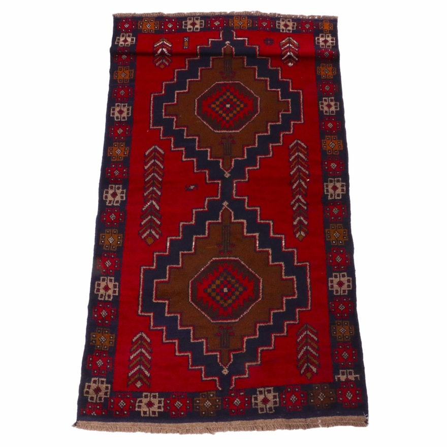 3'7 x 6'3 Hand-Knotted Afghani Baluch Rug