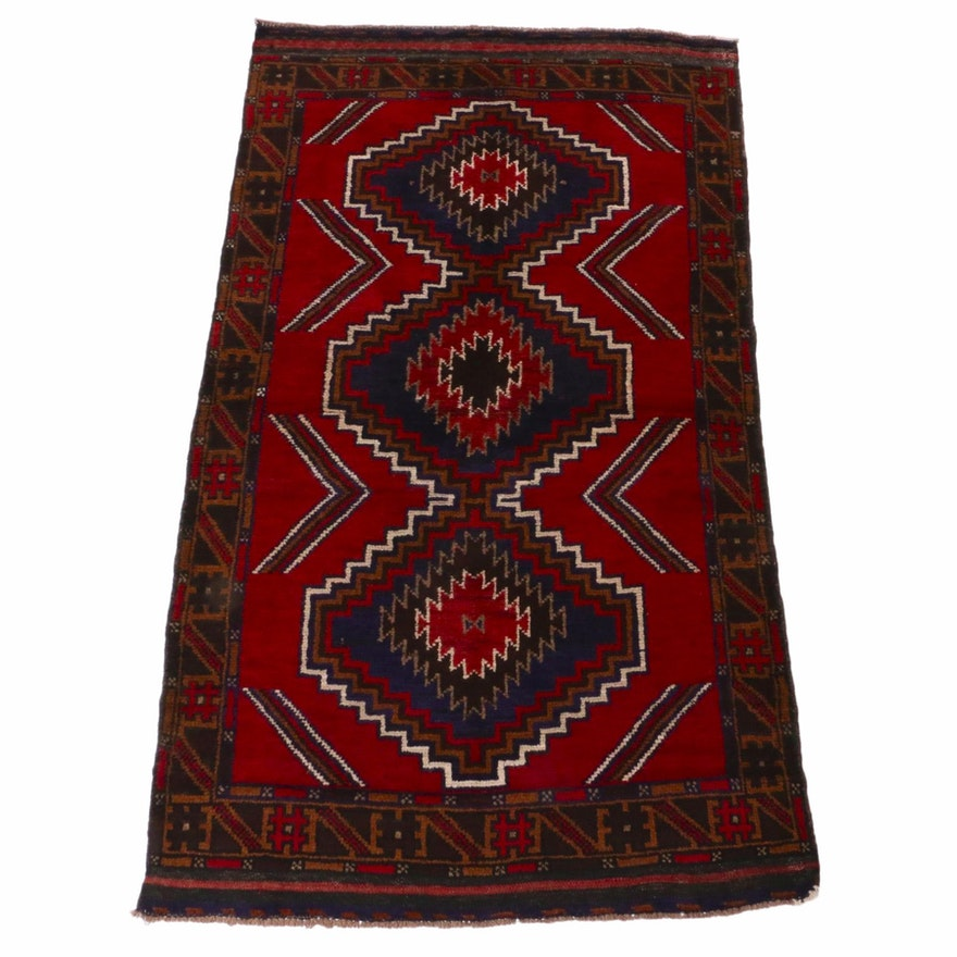 3'9 x 6'3 Hand-Knotted Afghani Baluch Rug