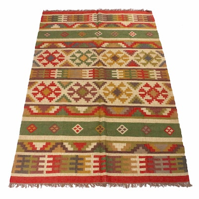 6'1 x 9'5 Handwoven Indo-Turkish Kilim Rug