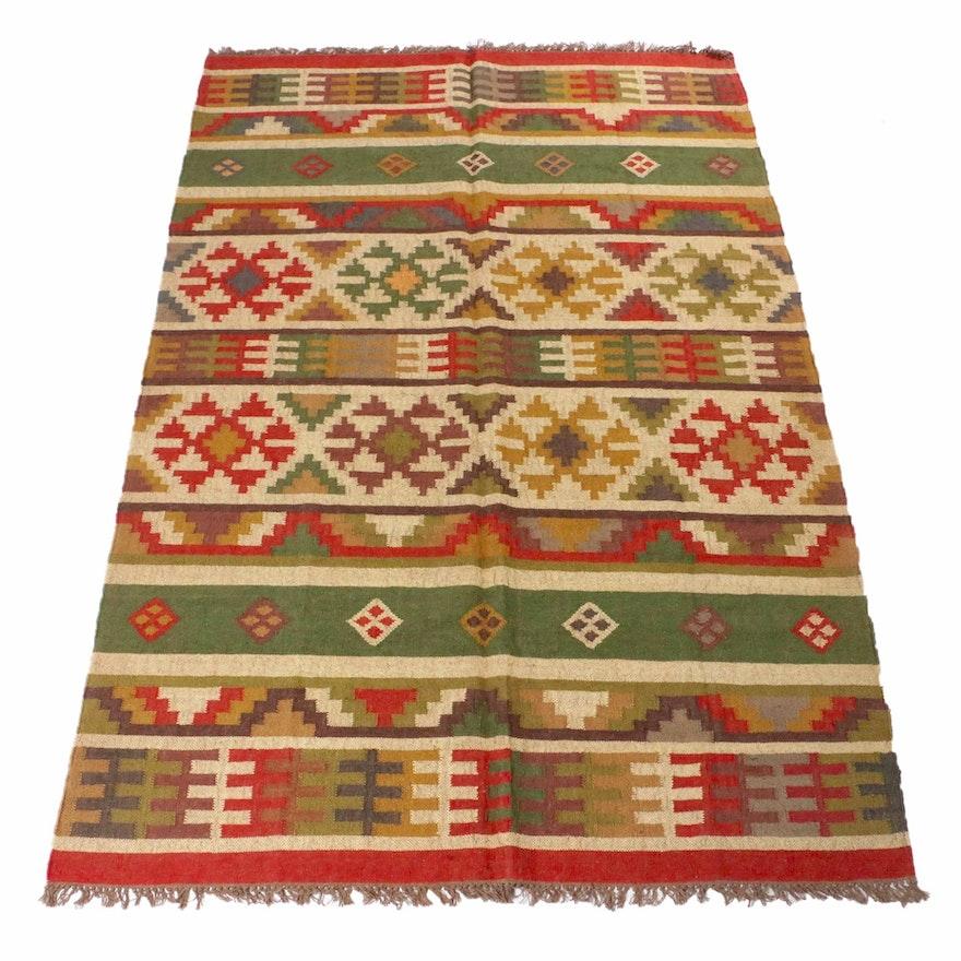 6'1 x 9'5 Handwoven Indo-Turkish Kilim Rug