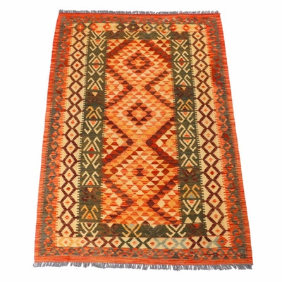 4'1 x 6'2 Handwoven Indo-Turkish Kilim Rug