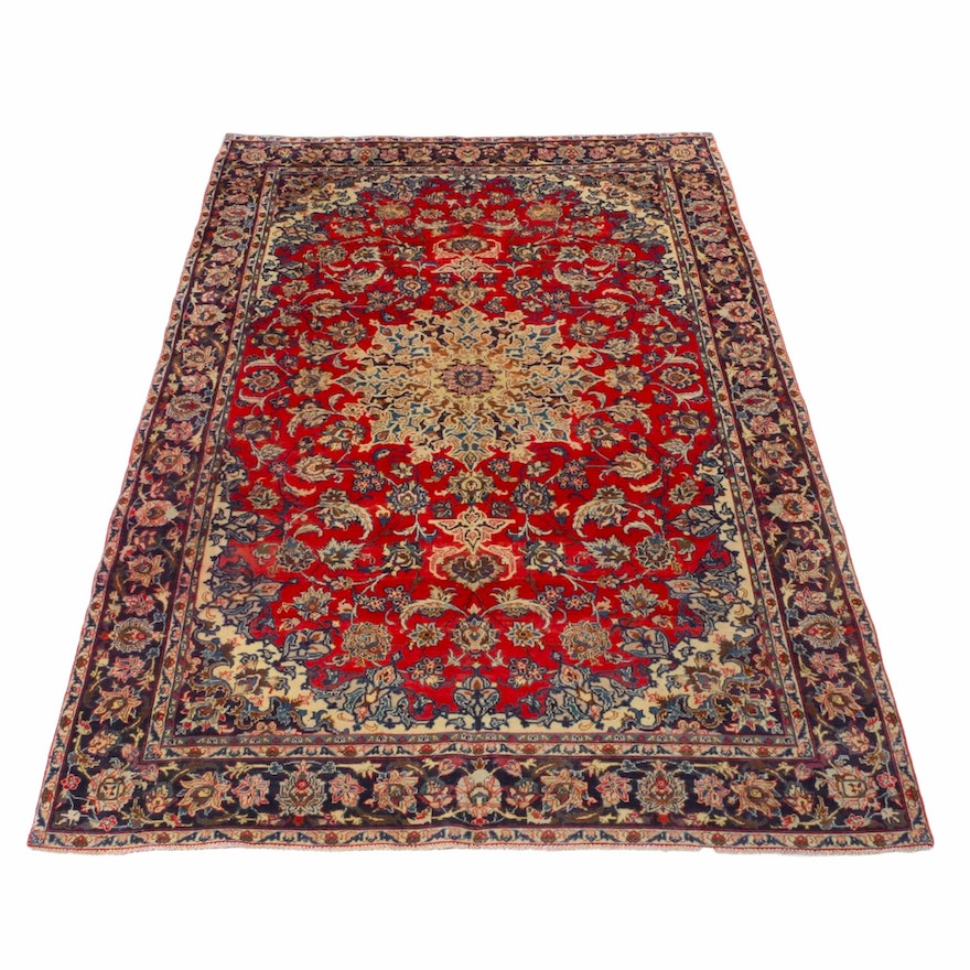 7'1 x 10'2 Hand-Knotted Persian Isfahan Rug