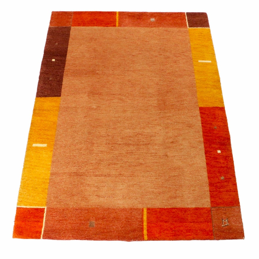 5'8 x 7'11 Hand-Knotted Indo Persian Gabbeh Mid Century Modern Style Rug, 2000s