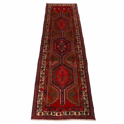 3'7 x 12'4 Hand-Knotted Persian Heriz Runner, 1970s