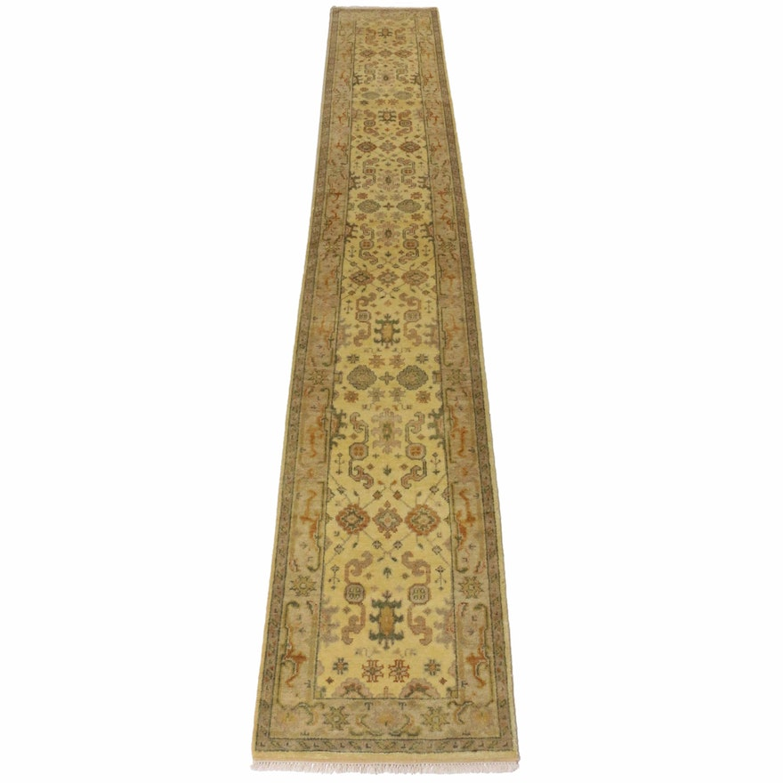2'7 x 16'3 Hand-Knotted Turkish Oushak Runner, 2010s