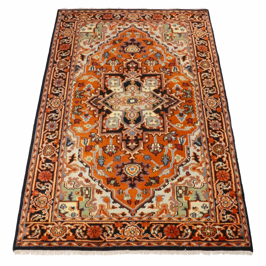 6' x 9'2 Hand-Knotted Indo-Persian Heriz Rug, 2010s