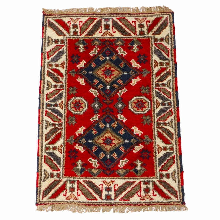2'1 x 3'2 Hand-Knotted Indo-Caucasian Kazak Rug, 2010s