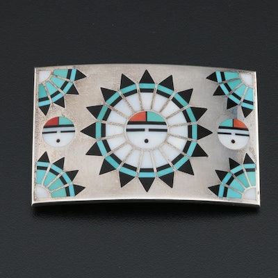 Zuni Sterling Silver Belt Buckle with Turquoise, Coral and MOP Sunface Inlay