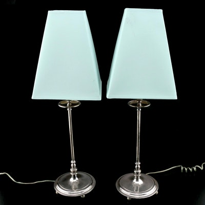 Tiffany & Co. Sterling Silver Converted Heraldic Candlestick Lamps