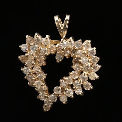 14K Yellow Gold 1.00 CTW Diamond Heart Pendant