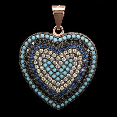 Sterling Silver Cubic Zirconia and Turquoise Heart Pendant