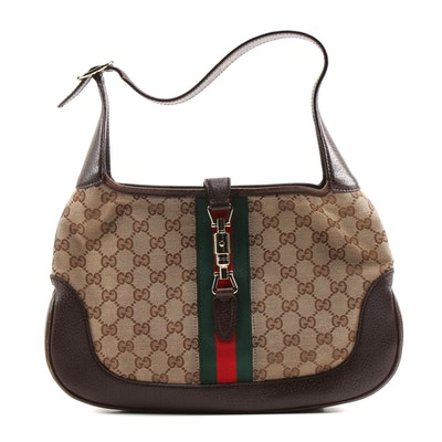 Gucci Sherry Line Jackie Shoulder Bag with Piston Lock in GG Canvas and Leather