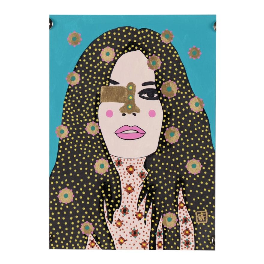 "Francois Aguiard Acrylic Painting ""Brigitte Bardot"""