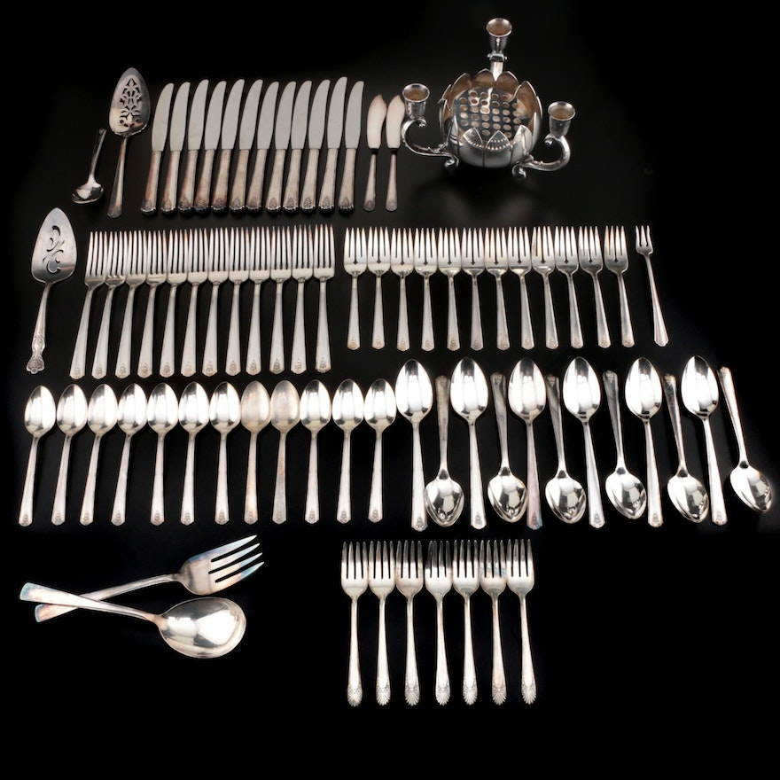 "Oneida ""Linda"" Silver Plate Flatware Service for Twelve and More"