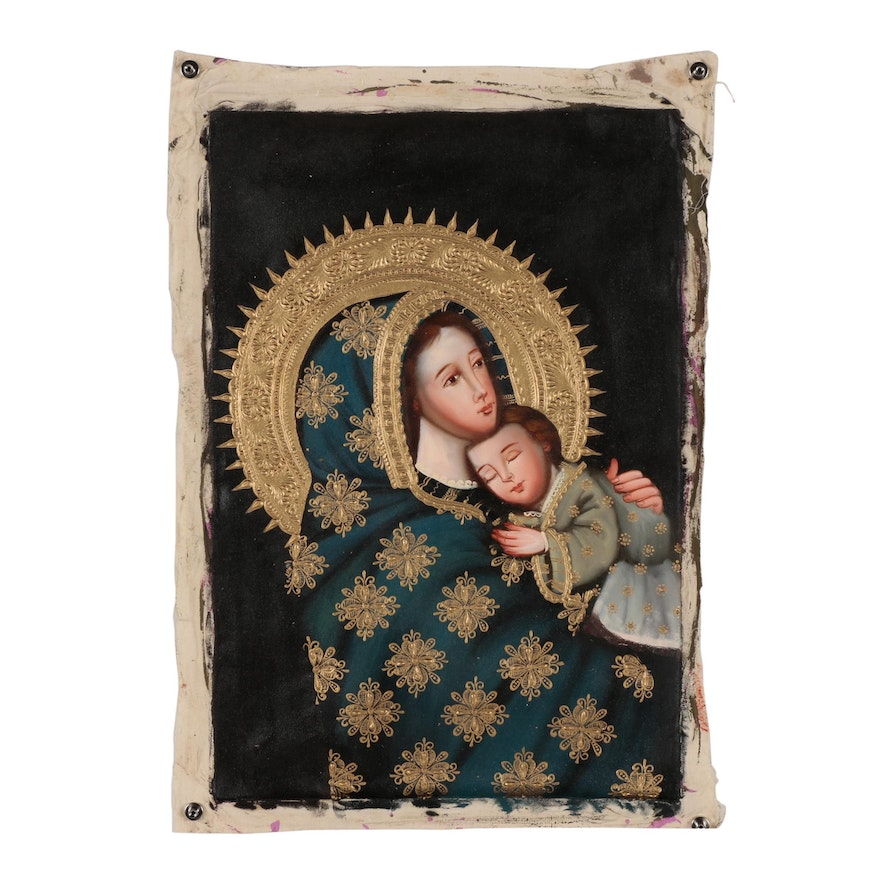 Contemporary Oil Painting of Madonna and Child