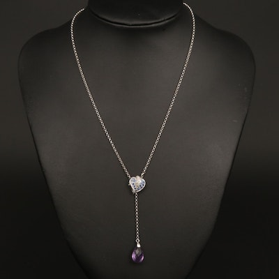 14K White Gold Blue Sapphire, Diamond and Amethyst Lariat Heart Necklace