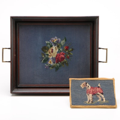 Inset Floral Needlepoint Serving Tray and Terrier Needlepoint Doorstop