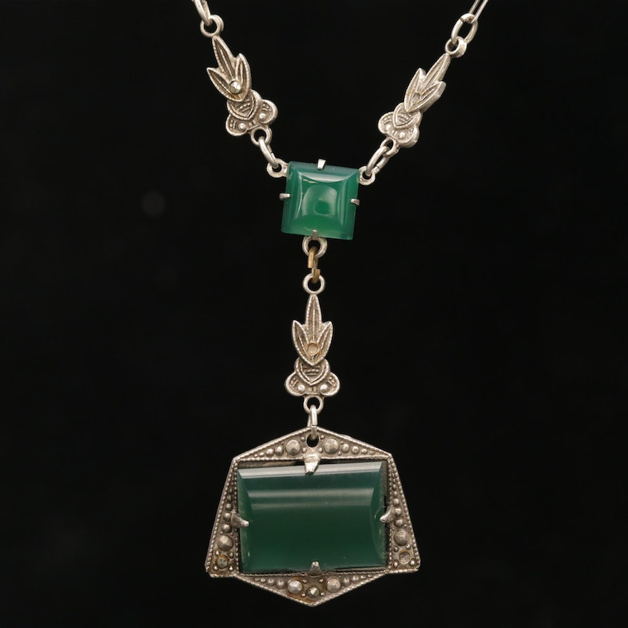Art Deco Sterling Silver Chrysoprase and Marcasite Pendant Necklace