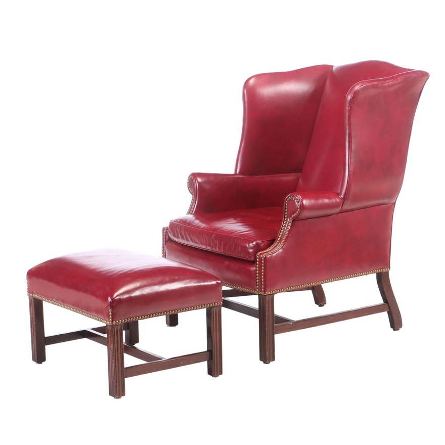 Hancock and Moore, Leather Wingback Chair and Ottoman, Late 20th Century