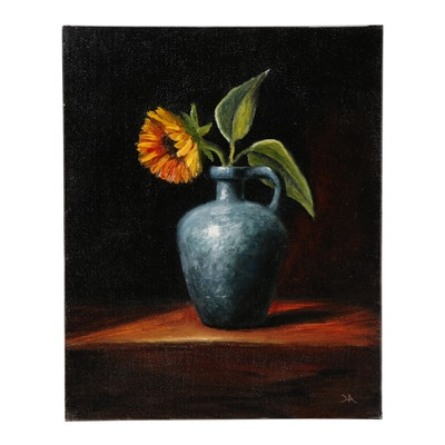 "Houra Alghizzi Oil Painting ""Sunflower in Blue Vase"""