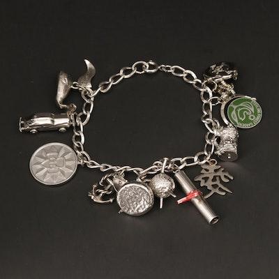 Sterling Silver Enamel Charm Bracelet