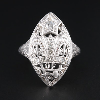 Vintage Platinum Diamond Fraternal Ring