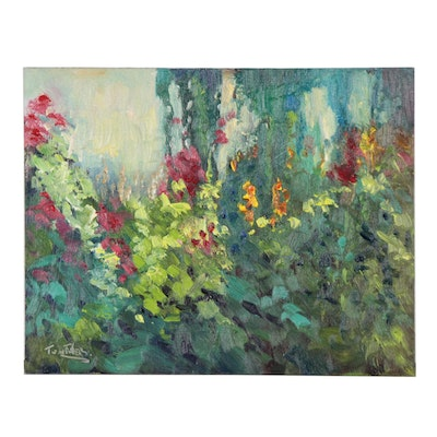 """Tom Fisher Impressionist Oil Painting """"Flower Lineup"""""""