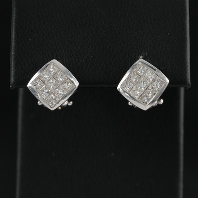 14K White Gold Invisible Set Diamond Stud Earrings