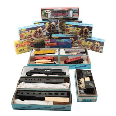 Athearn, Roadhouse, and Atlas Model Train Engines-Cars in Original Packaging