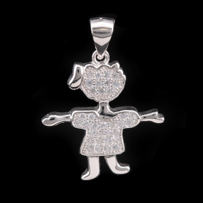 Sterling Silver Cubic Zirconia Figural Pendant