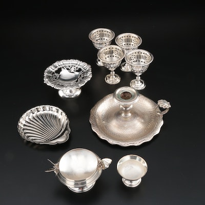 English Sterling Silver Compote with Silver Plate Table Accessories