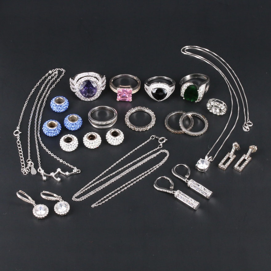 Assortment of Sterling Silver Jewelry With Glass and Cubic Zirconia
