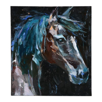 "Adam Deda Oil Painting ""Brown Horse"""