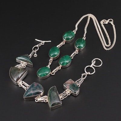 Sterling Silver Quench Crackle Quartz and Jasper Necklace and Bracelet
