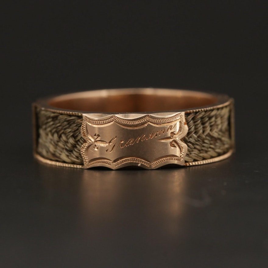 Mid-Victorian 14K Yellow Gold Braided Hair Mourning Ring