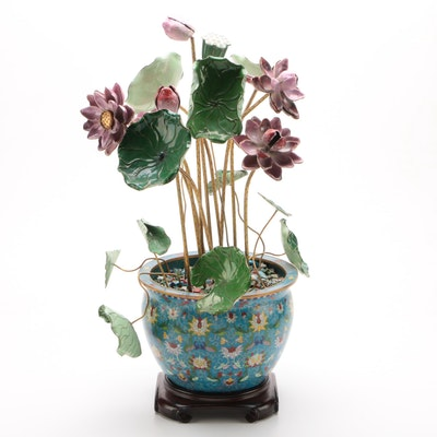Chinese Cloisonné Planter with Handcrafted Enameled Flower Arrangement