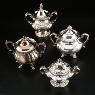 American Silver Plate Sugar Bowls Including Reed & Barton and Wallace, Vintage