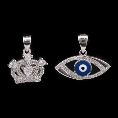 Sterling Silver Pendants with Cubic Zirconia and Enamel Including Evil Eye