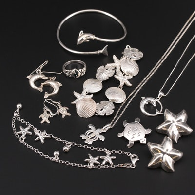 Sterling Silver Marine Life Theme Jewelry Including Shell Motif Bracelet