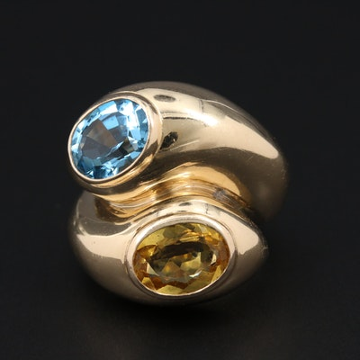 Vintage 14K Yellow Gold Citrine and Blue Topaz Bypass Ring