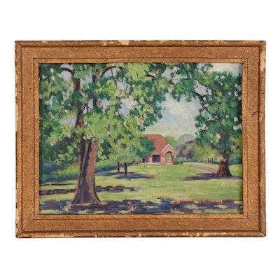 """Lola Schickner Oil Painting """"View of Shelter House, Owl's Nest Park"""""""