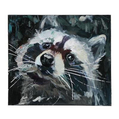 "Adam Deda Oil Painting ""Raccoon"""