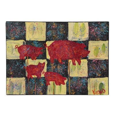 """Keno Contemporary Folk Art Acrylic Painting """"Pig Family"""""""