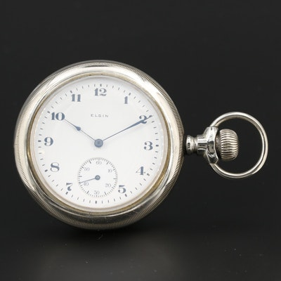 Antique Elgin Nickel Sidewinder Open Face Pocket Watch