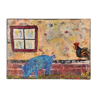 """Keno Contemporary Folk Art Acrylic Painting """"Feeling Blue"""""""